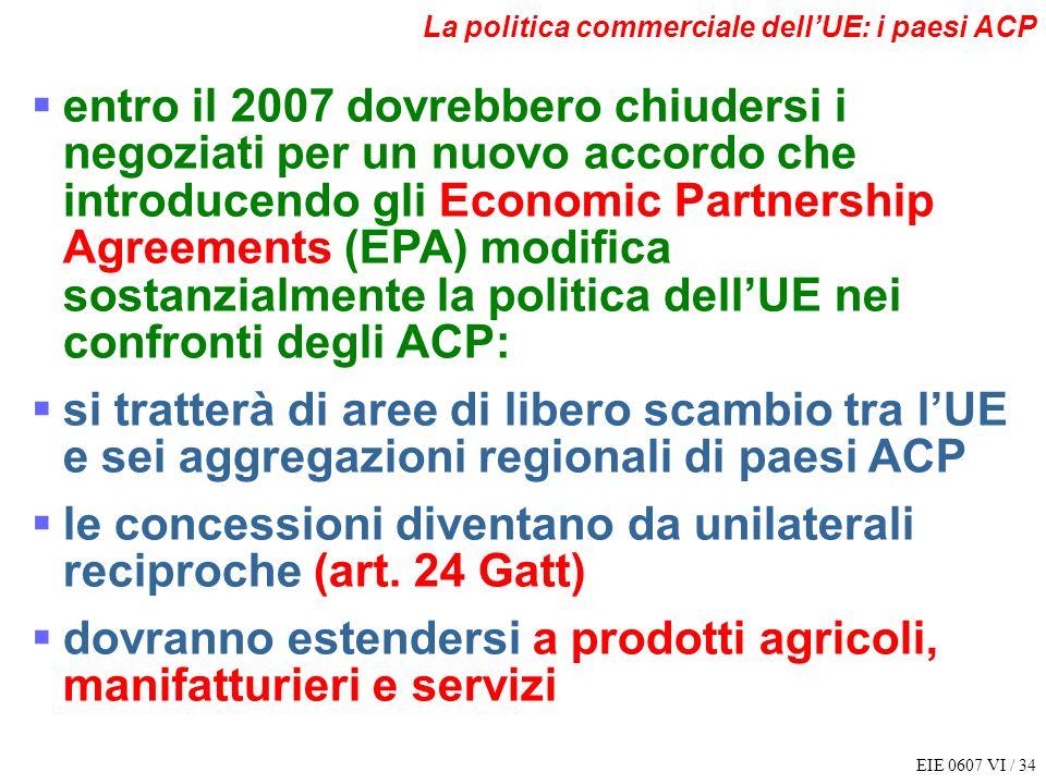 EIE 0607 VI / 34 La politica commerciale dellUE: i paesi ACP entro il 2007 dovrebbero chiudersi i negoziati per un nuovo accordo che introducendo gli