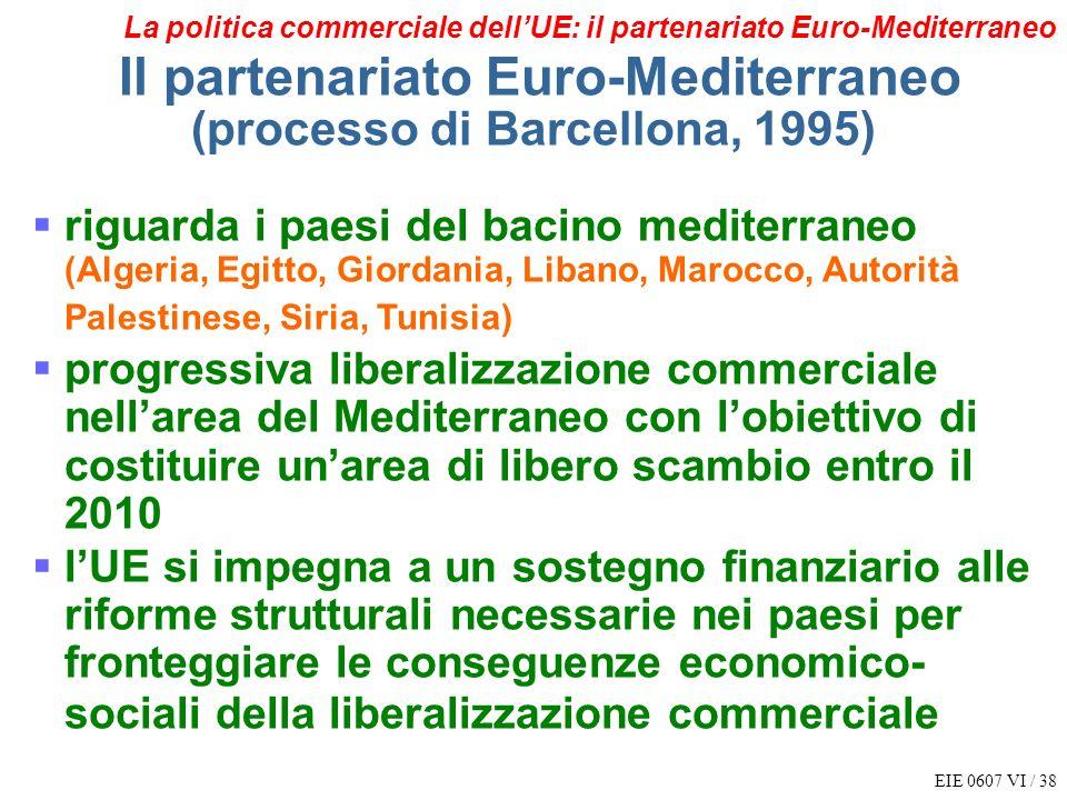EIE 0607 VI / 38 La politica commerciale dellUE: il partenariato Euro-Mediterraneo Il partenariato Euro-Mediterraneo (processo di Barcellona, 1995) ri