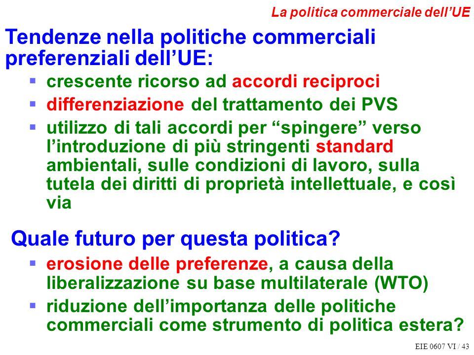 EIE 0607 VI / 43 La politica commerciale dellUE Tendenze nella politiche commerciali preferenziali dellUE: crescente ricorso ad accordi reciproci diff
