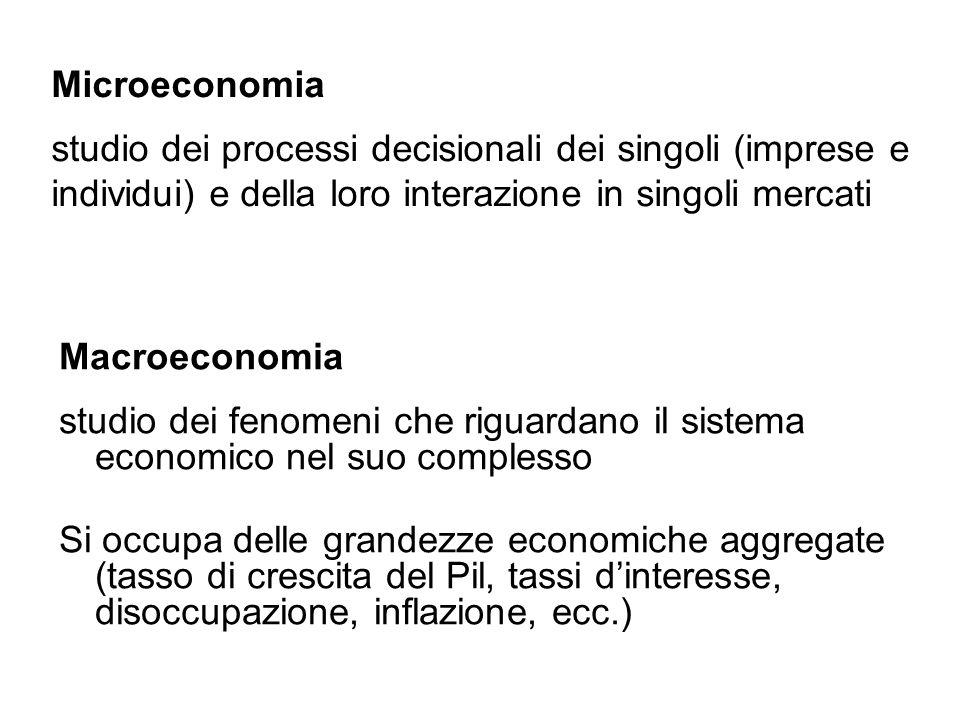 Microeconomia studio dei processi decisionali dei singoli (imprese e individui) e della loro interazione in singoli mercati Macroeconomia studio dei f