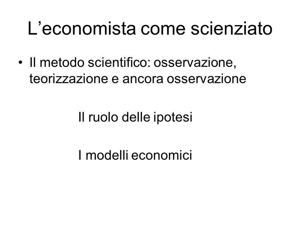 Leconomista come scienziato Il metodo scientifico: osservazione, teorizzazione e ancora osservazione Il ruolo delle ipotesi I modelli economici