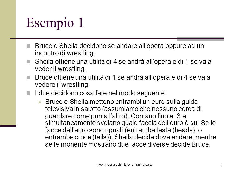 Teoria dei giochi - D Orio - prima parte1 Esempio 1 Bruce e Sheila decidono se andare allopera oppure ad un incontro di wrestling.