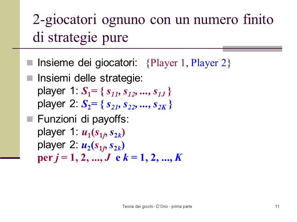 Teoria dei giochi - D'Orio - prima parte10 Esempio: Roccia, carta e forbici Riuscite a trovare un equilibrio di Nash in strategie miste? Player 2 Rock