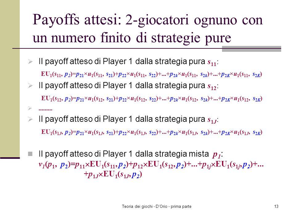 Teoria dei giochi - D'Orio - prima parte12 2-giocatori ognuno con un numero finito di strategie pure La strategia mista di Player 1: p 1 =(p 11, p 12,