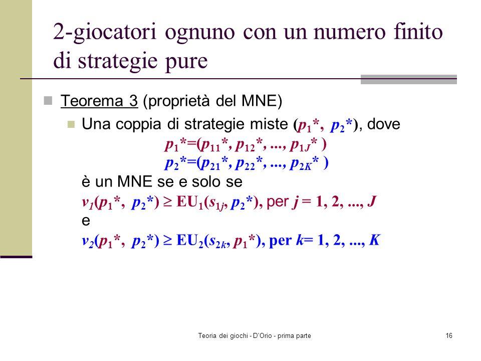 Teoria dei giochi - D'Orio - prima parte15 MNE: 2-giocatori ognuno con un numero finito di strategie pure Una coppia di strategie miste (p 1 *, p 2 *)