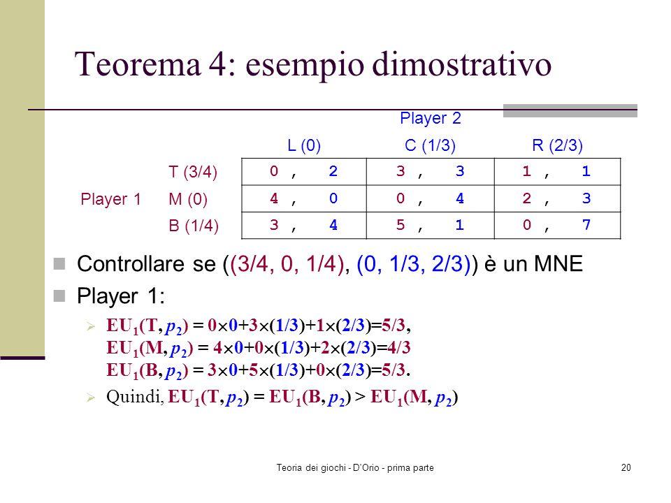 Teoria dei giochi - D'Orio - prima parte19 2-giocatori ognuno con un numero finito di strategie pure Il Teorema 4 implica che abbiamo un MNE nella sit