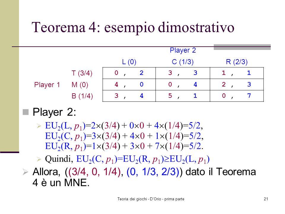 Teoria dei giochi - D'Orio - prima parte20 Teorema 4: esempio dimostrativo Controllare se ((3/4, 0, 1/4), (0, 1/3, 2/3)) è un MNE Player 1: EU 1 (T, p