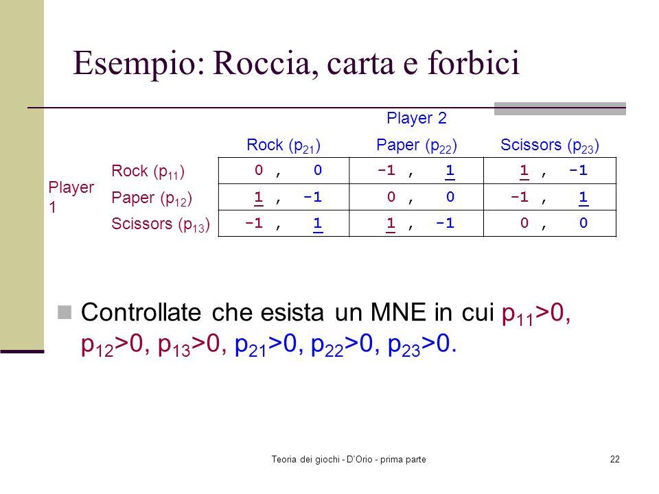 Teoria dei giochi - D'Orio - prima parte21 Teorema 4: esempio dimostrativo Player 2: EU 2 (L, p 1 )=2 (3/4) + 0 0 + 4 (1/4)=5/2, EU 2 (C, p 1 )=3 (3/4