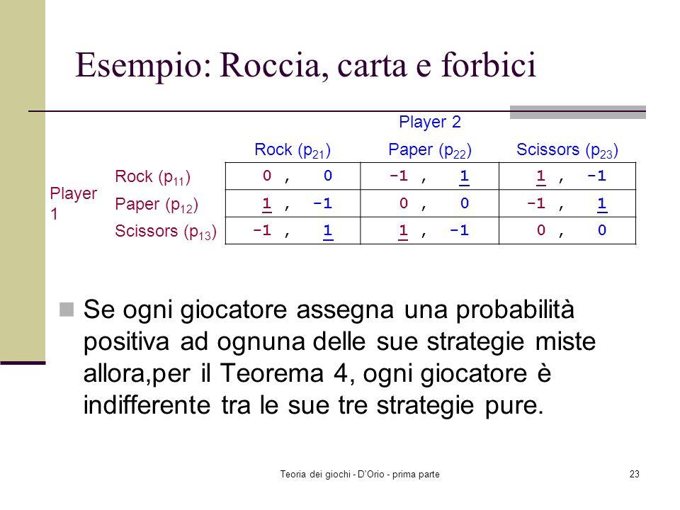 Teoria dei giochi - D'Orio - prima parte22 Esempio: Roccia, carta e forbici Controllate che esista un MNE in cui p 11 >0, p 12 >0, p 13 >0, p 21 >0, p