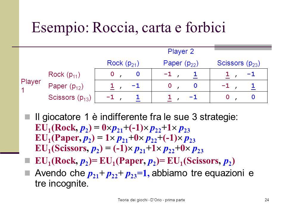 Teoria dei giochi - D'Orio - prima parte23 Esempio: Roccia, carta e forbici Se ogni giocatore assegna una probabilità positiva ad ognuna delle sue str