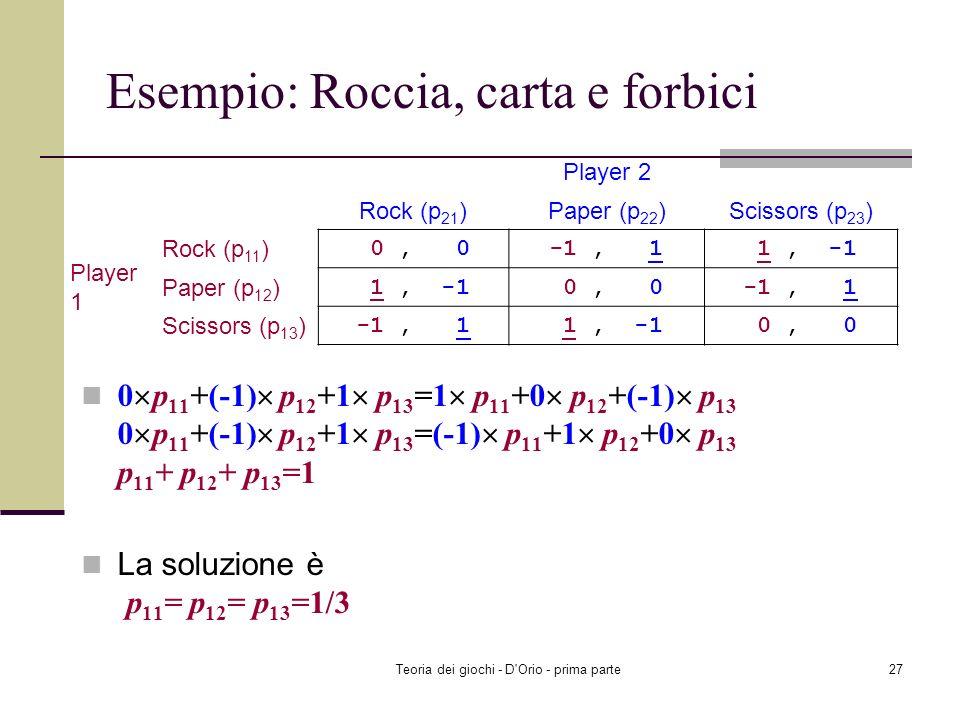 Teoria dei giochi - D'Orio - prima parte26 Esempio: Roccia, carta e forbici Il giocatore 2 è indifferente fra le tre strategie: EU 2 (Rock, p 1 )=0 p