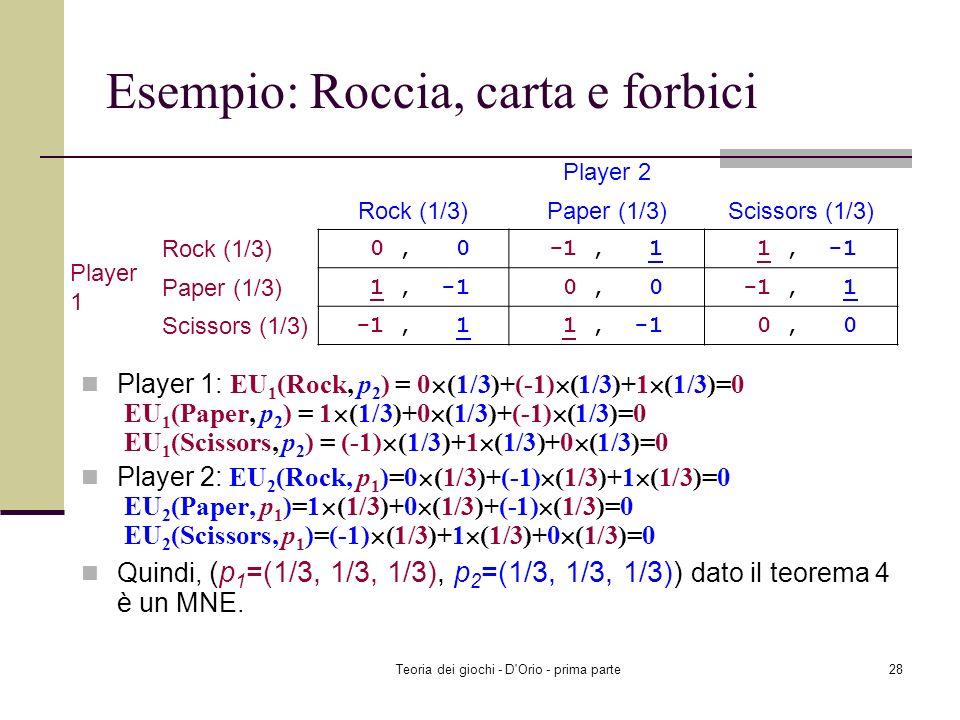Teoria dei giochi - D'Orio - prima parte27 Esempio: Roccia, carta e forbici 0 p 11 +(-1) p 12 +1 p 13 =1 p 11 +0 p 12 +(-1) p 13 0 p 11 +(-1) p 12 +1