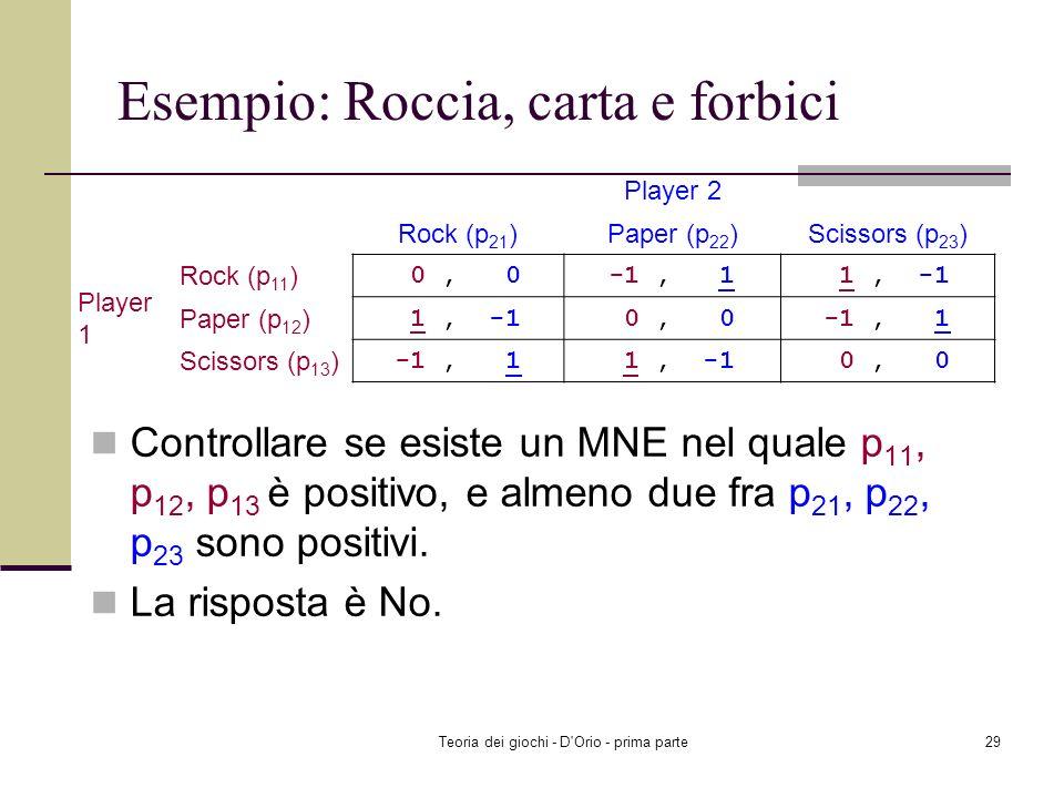 Teoria dei giochi - D'Orio - prima parte28 Esempio: Roccia, carta e forbici Player 1: EU 1 (Rock, p 2 ) = 0 (1/3)+(-1) (1/3)+1 (1/3)=0 EU 1 (Paper, p