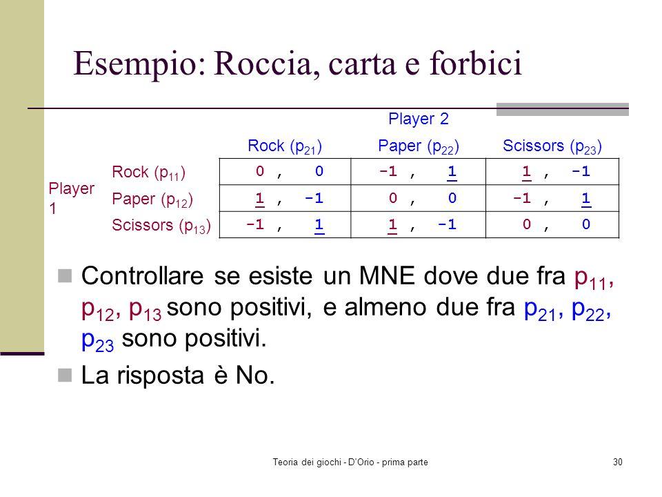 Teoria dei giochi - D'Orio - prima parte29 Esempio: Roccia, carta e forbici Controllare se esiste un MNE nel quale p 11, p 12, p 13 è positivo, e alme