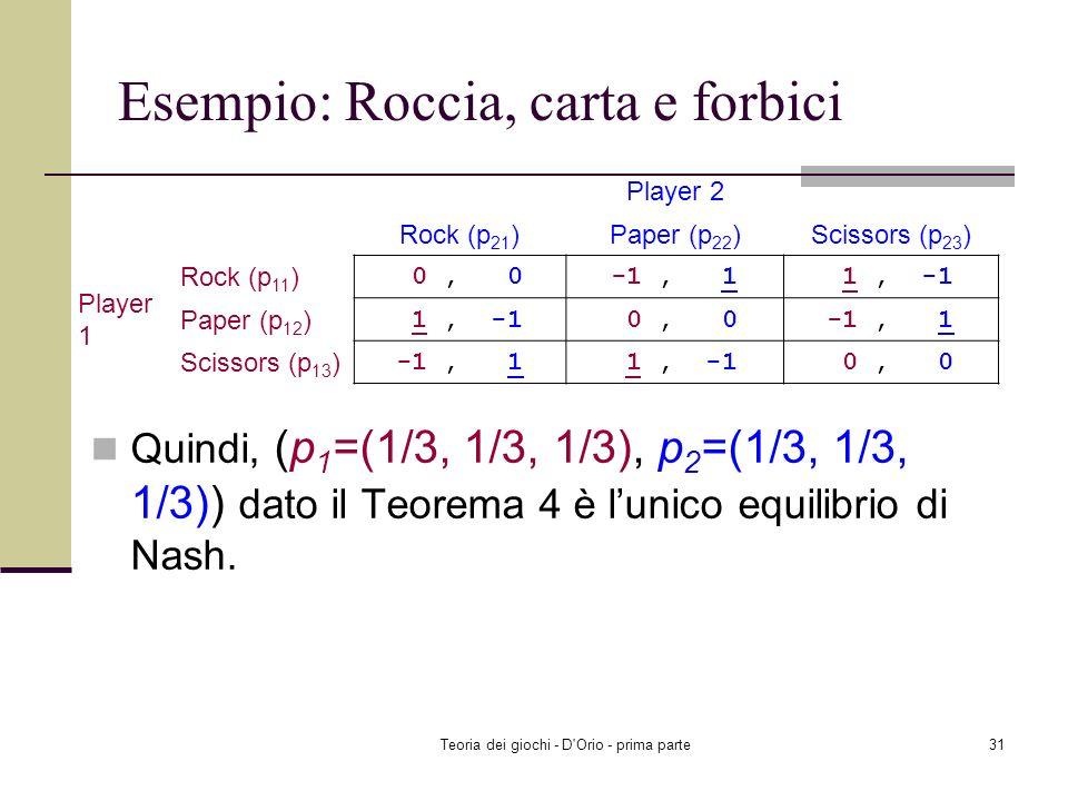 Teoria dei giochi - D'Orio - prima parte30 Esempio: Roccia, carta e forbici Controllare se esiste un MNE dove due fra p 11, p 12, p 13 sono positivi,