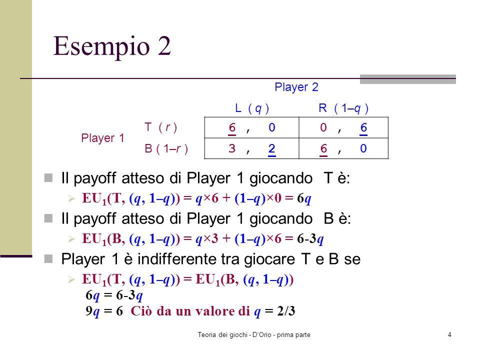 Teoria dei giochi - D'Orio - prima parte3 Esempio 1 Il payoff di Sheila giocando Head è il seguente: EU 2 (H, (r, 1–r)) = r ×4+(1–r)×1 = 3r + 1 Il pay