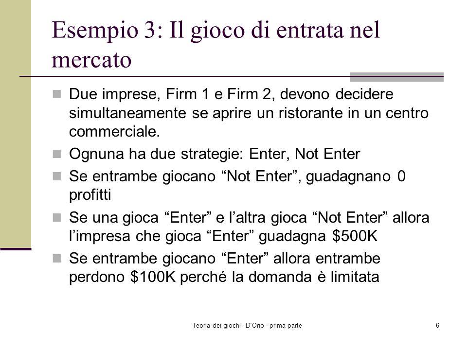 Teoria dei giochi - D'Orio - prima parte5 Example 2 Il payoff atteso di Player 2 giocando L è: EU 2 (L, (r, 1–r)) = r ×0+(1–r)×2 =2- 2r Il payoff atte