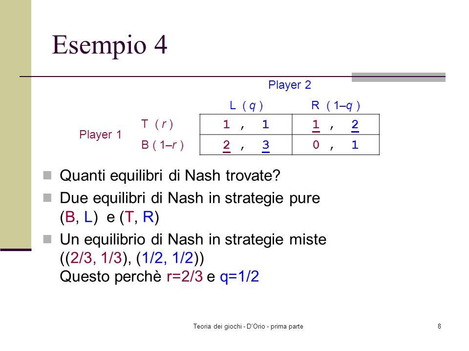Teoria dei giochi - D'Orio - prima parte7 Esempio 3: Il gioco di entrata nel mercato Quanti equilibri di Nash potete trovare? Due equilibri di Nash in