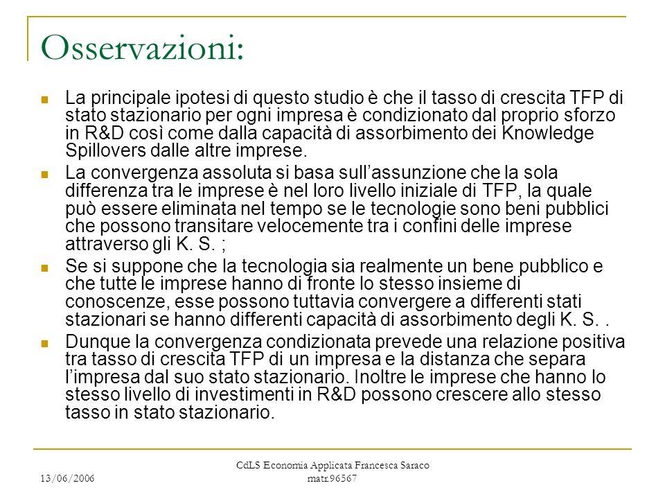 13/06/2006 CdLS Economia Applicata Francesca Saraco matr.96567 Osservazioni: La principale ipotesi di questo studio è che il tasso di crescita TFP di