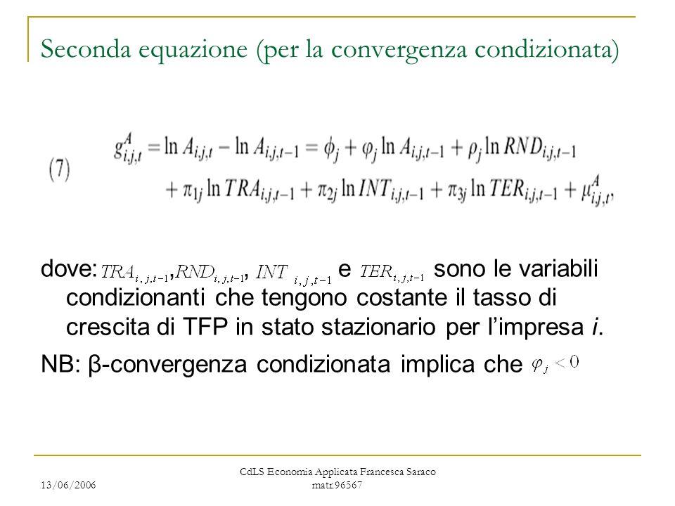 13/06/2006 CdLS Economia Applicata Francesca Saraco matr.96567 Seconda equazione (per la convergenza condizionata) dove:,, e sono le variabili condizionanti che tengono costante il tasso di crescita di TFP in stato stazionario per limpresa i.
