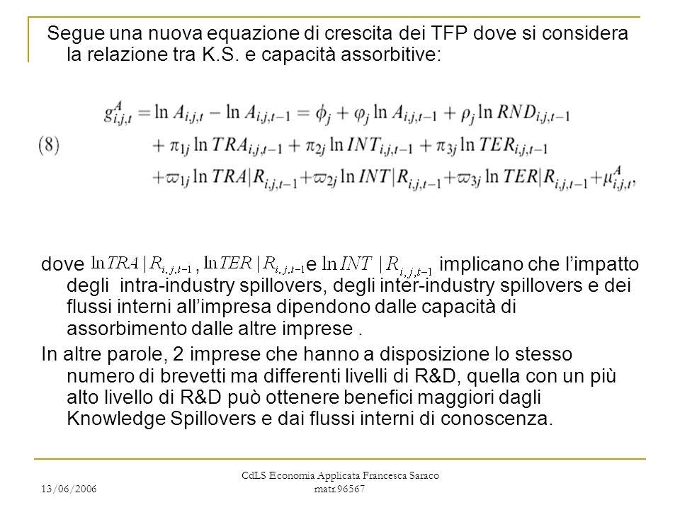 13/06/2006 CdLS Economia Applicata Francesca Saraco matr.96567 Segue una nuova equazione di crescita dei TFP dove si considera la relazione tra K.S. e
