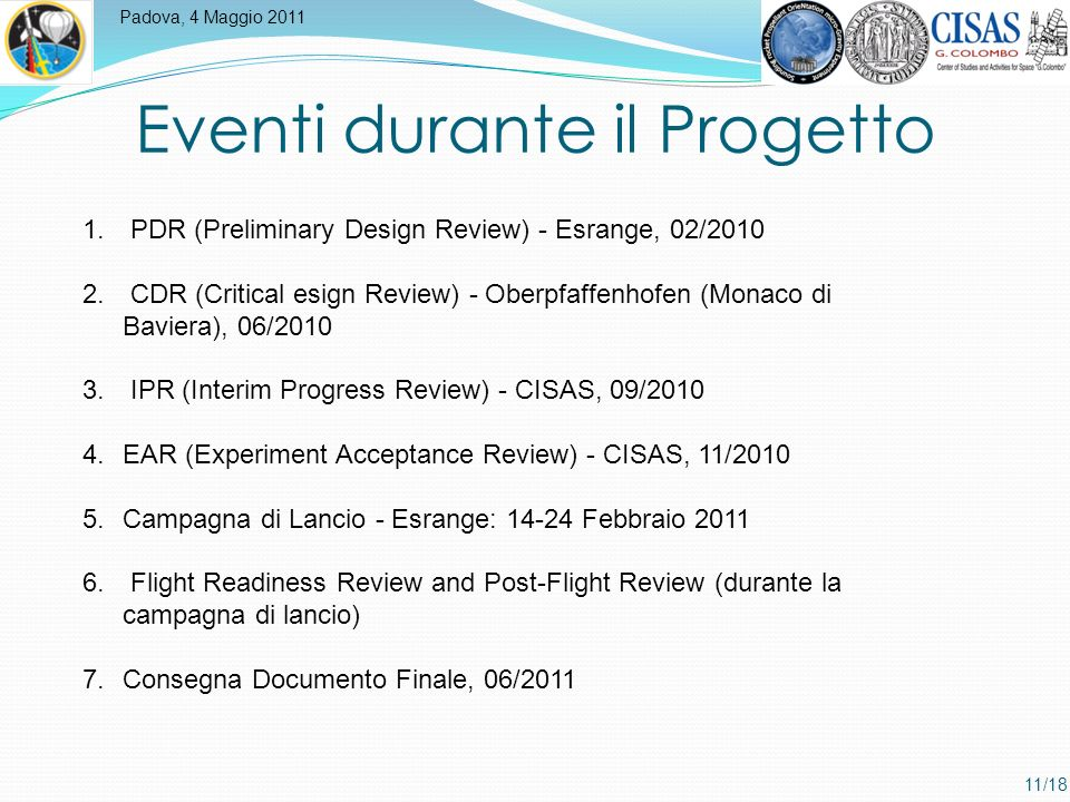Padova, 4 Maggio 2011 11/18 Eventi durante il Progetto 1.