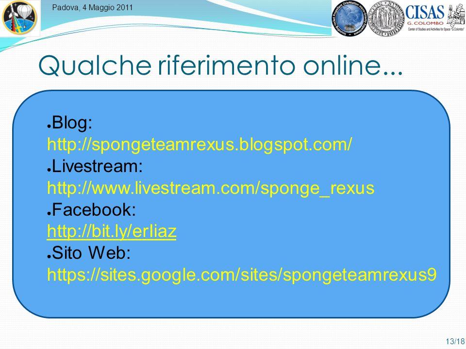 Padova, 4 Maggio 2011 13/18 Qualche riferimento online...