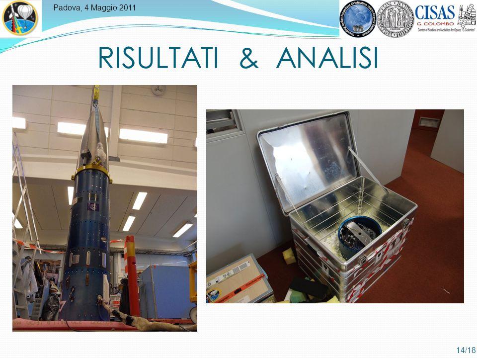 Padova, 4 Maggio 2011 14/18 RISULTATI & ANALISI