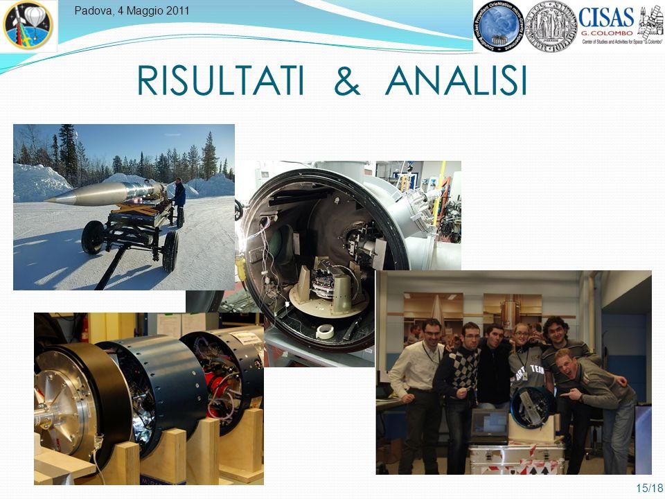 Padova, 4 Maggio 2011 15/18 RISULTATI & ANALISI