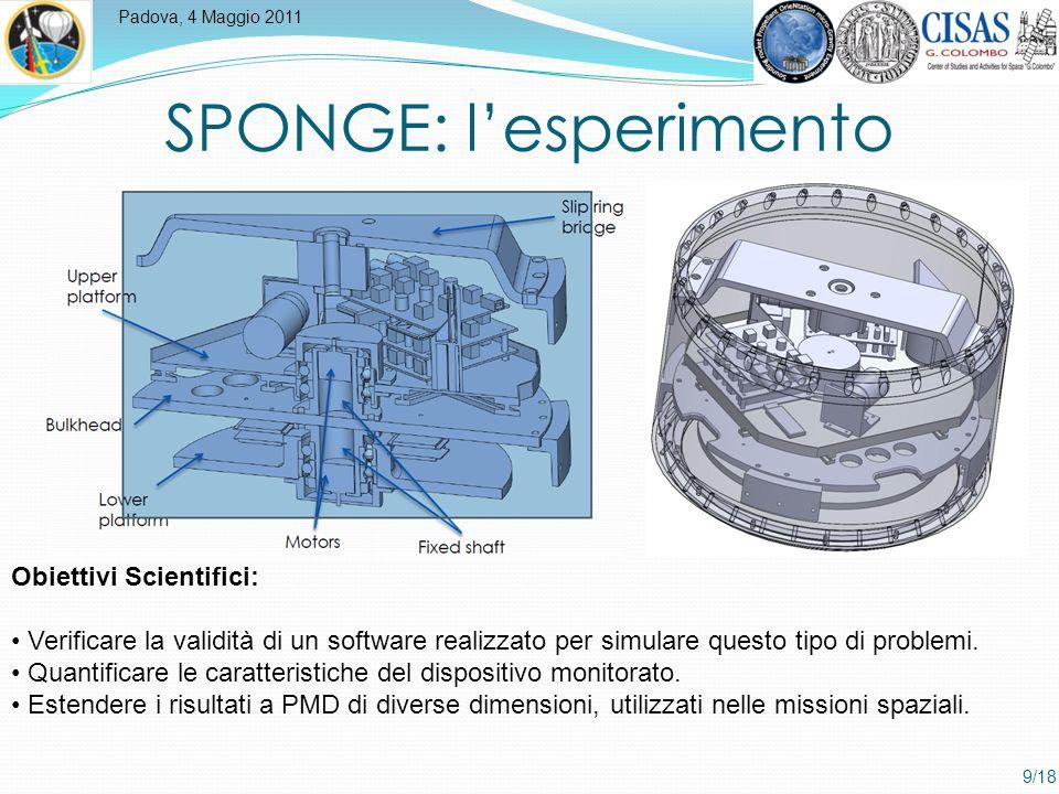 Padova, 4 Maggio 2011 9/18 SPONGE: lesperimento Obiettivi Scientifici: Verificare la validità di un software realizzato per simulare questo tipo di problemi.