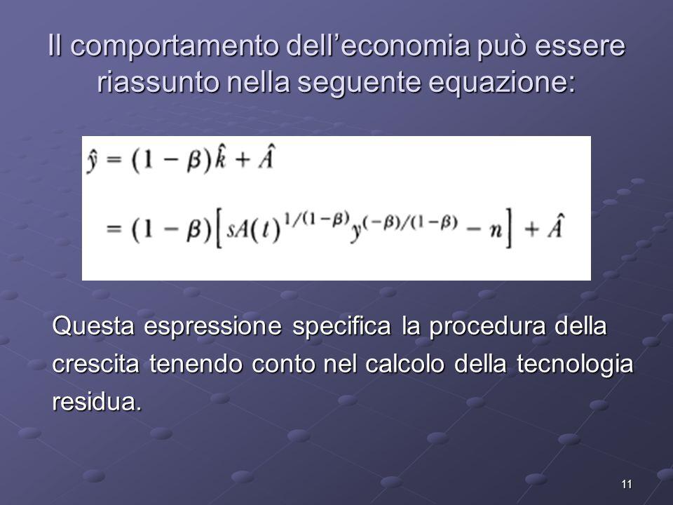 11 Il comportamento delleconomia può essere riassunto nella seguente equazione: Questa espressione specifica la procedura della crescita tenendo conto