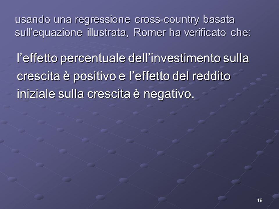 18 usando una regressione cross-country basata sullequazione illustrata, Romer ha verificato che: leffetto percentuale dellinvestimento sulla crescita