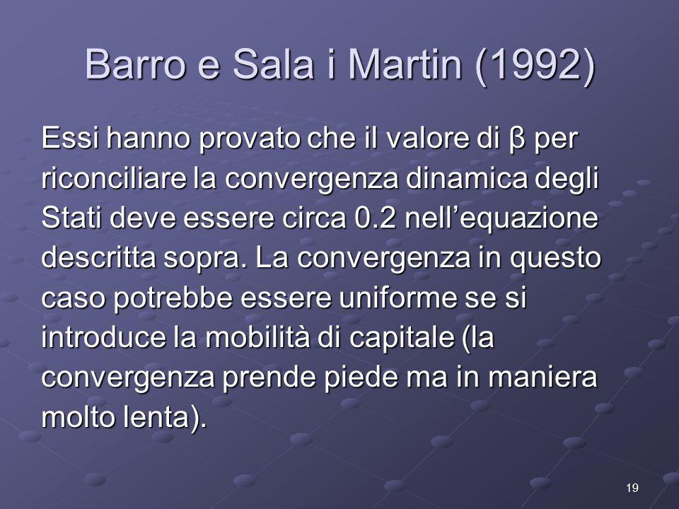 19 Barro e Sala i Martin (1992) Essi hanno provato che il valore di β per riconciliare la convergenza dinamica degli Stati deve essere circa 0.2 nelle
