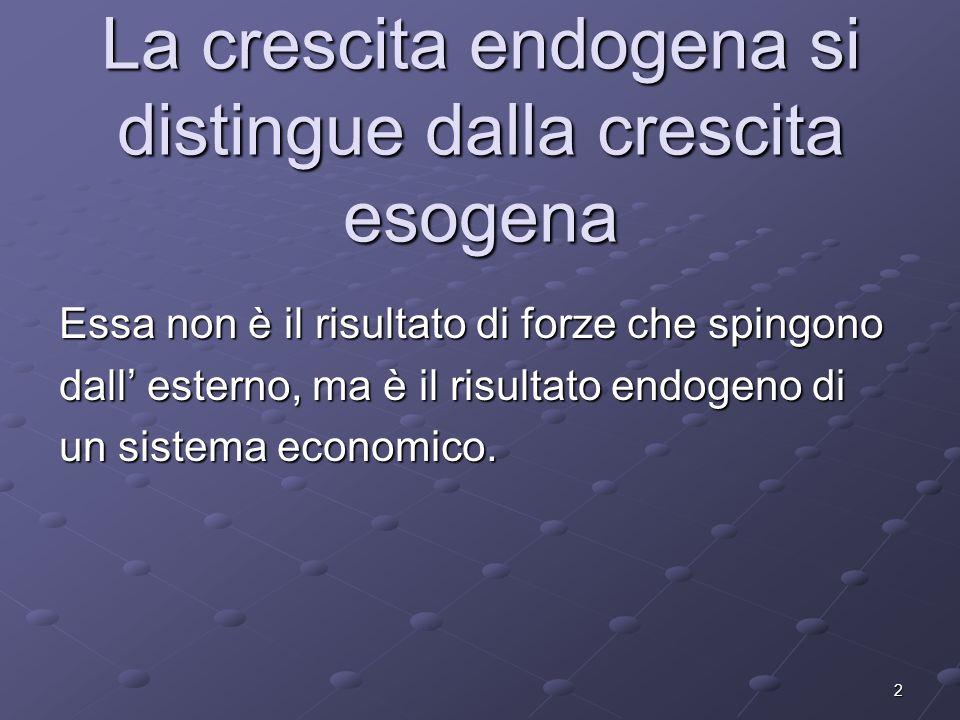 2 La crescita endogena si distingue dalla crescita esogena Essa non è il risultato di forze che spingono dall esterno, ma è il risultato endogeno di u