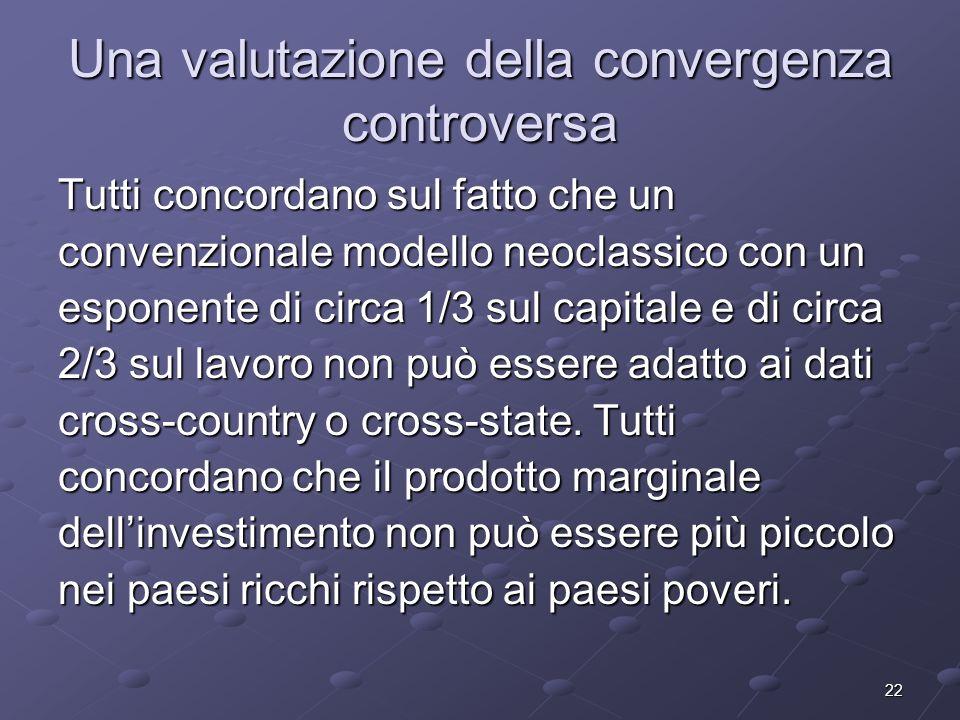 22 Una valutazione della convergenza controversa Tutti concordano sul fatto che un convenzionale modello neoclassico con un esponente di circa 1/3 sul