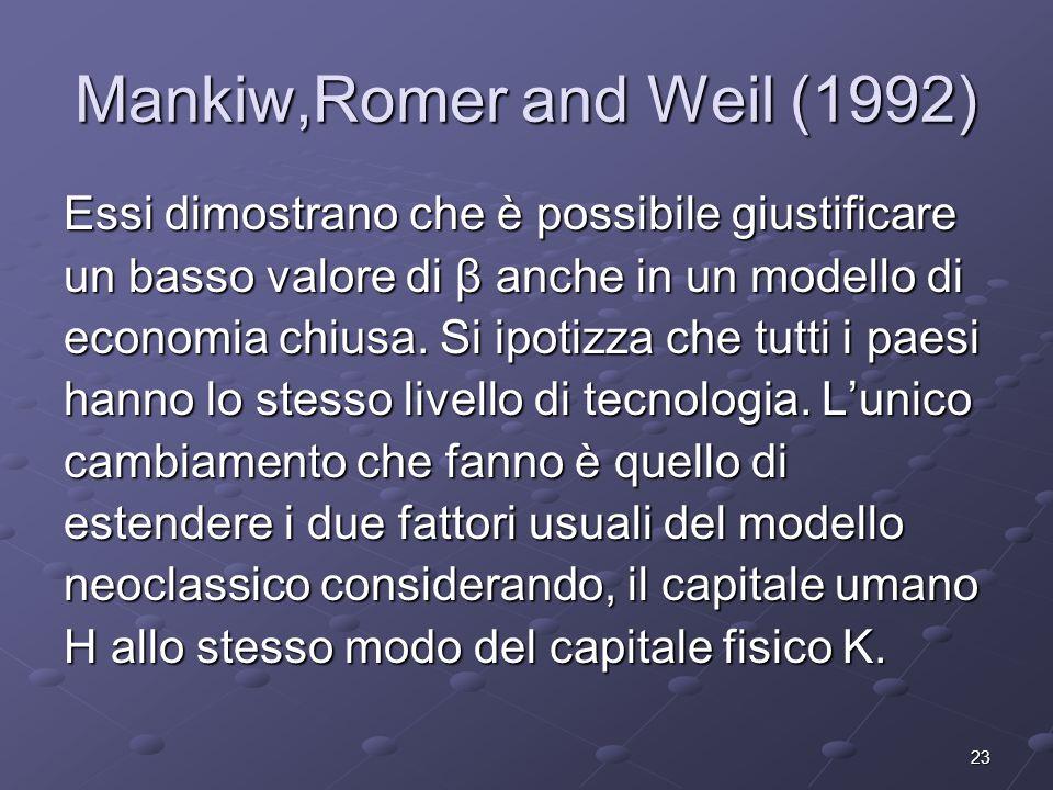 23 Mankiw,Romer and Weil (1992) Essi dimostrano che è possibile giustificare un basso valore di β anche in un modello di economia chiusa. Si ipotizza