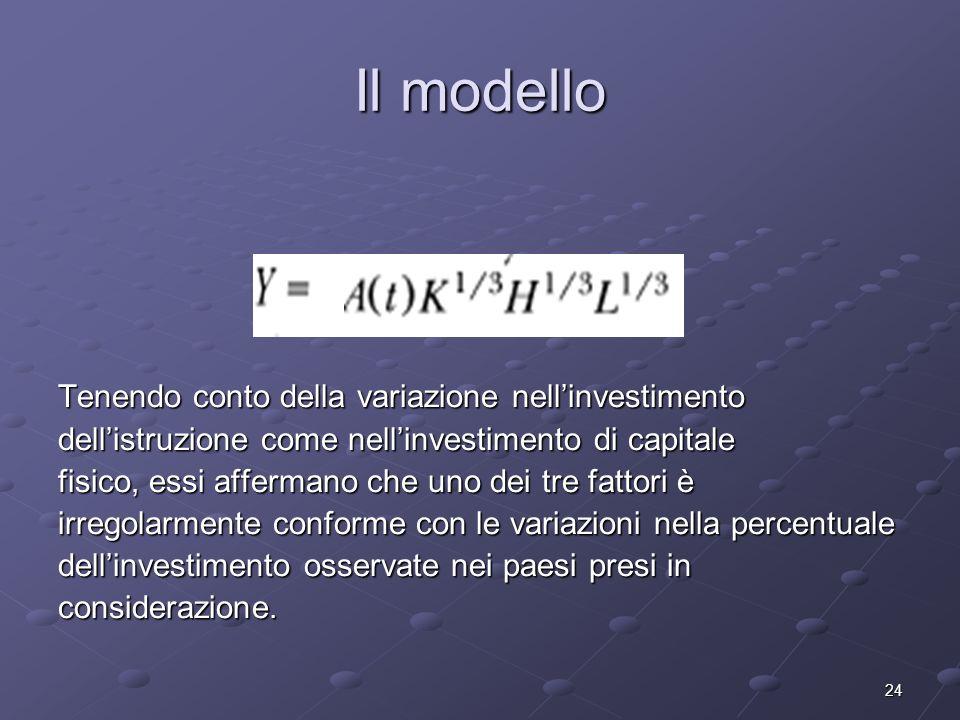 24 Il modello Tenendo conto della variazione nellinvestimento dellistruzione come nellinvestimento di capitale fisico, essi affermano che uno dei tre