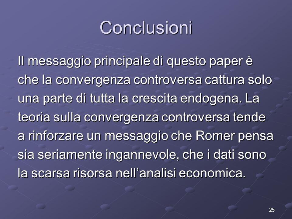 25 Conclusioni Il messaggio principale di questo paper è che la convergenza controversa cattura solo una parte di tutta la crescita endogena. La teori