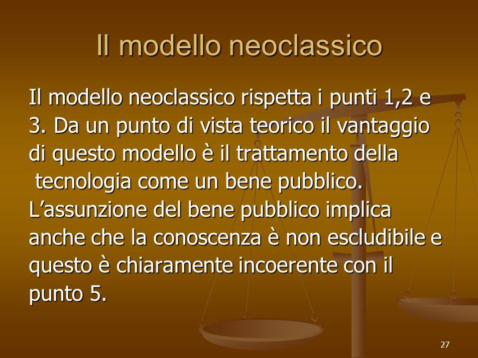 27 Il modello neoclassico Il modello neoclassico rispetta i punti 1,2 e 3. Da un punto di vista teorico il vantaggio di questo modello è il trattament