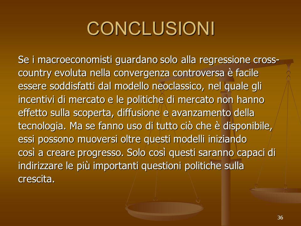 36 CONCLUSIONI Se i macroeconomisti guardano solo alla regressione cross- country evoluta nella convergenza controversa è facile essere soddisfatti da