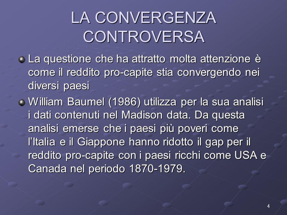 4 LA CONVERGENZA CONTROVERSA La questione che ha attratto molta attenzione è come il reddito pro-capite stia convergendo nei diversi paesi William Bau