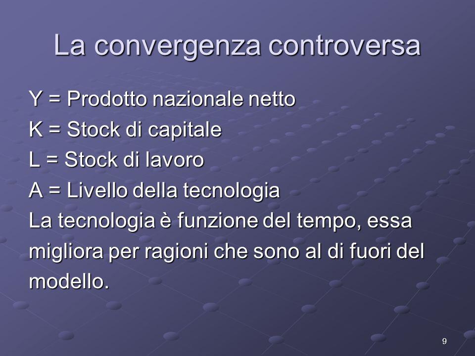 9 La convergenza controversa Y = Prodotto nazionale netto K = Stock di capitale L = Stock di lavoro A = Livello della tecnologia La tecnologia è funzi