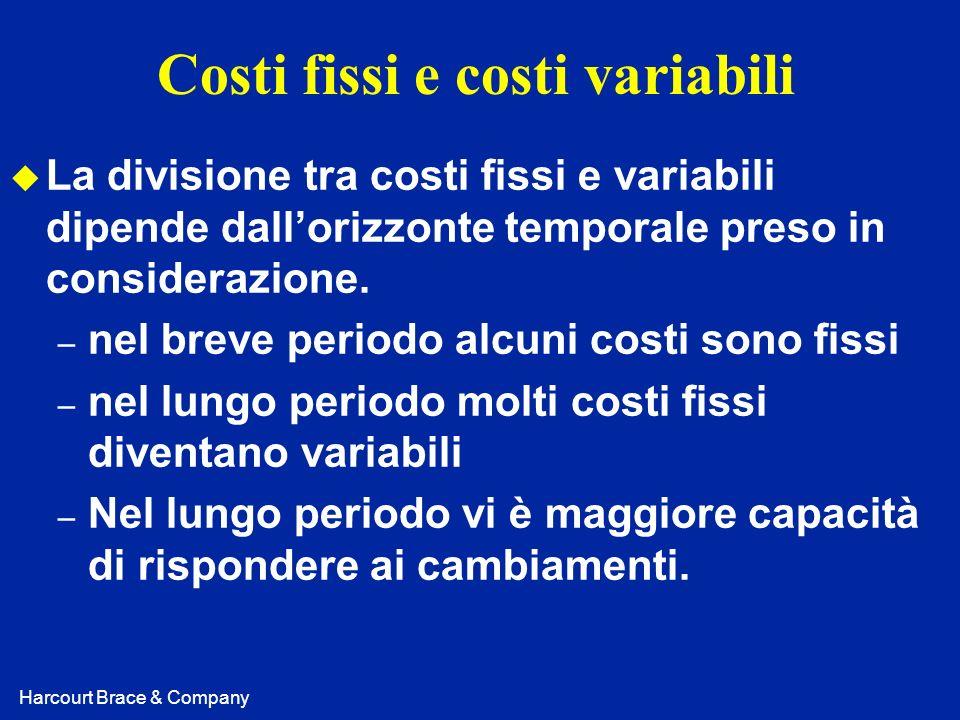 Harcourt Brace & Company Costi fissi e costi variabili u La divisione tra costi fissi e variabili dipende dallorizzonte temporale preso in considerazi