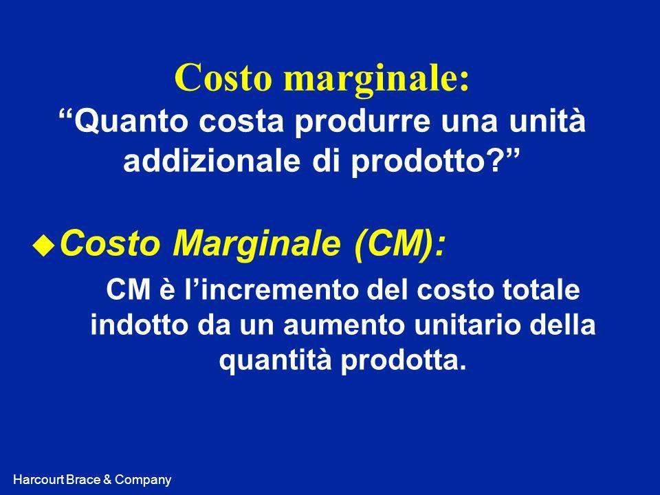 Harcourt Brace & Company Costo marginale: Quanto costa produrre una unità addizionale di prodotto? u Costo Marginale (CM): CM è lincremento del costo