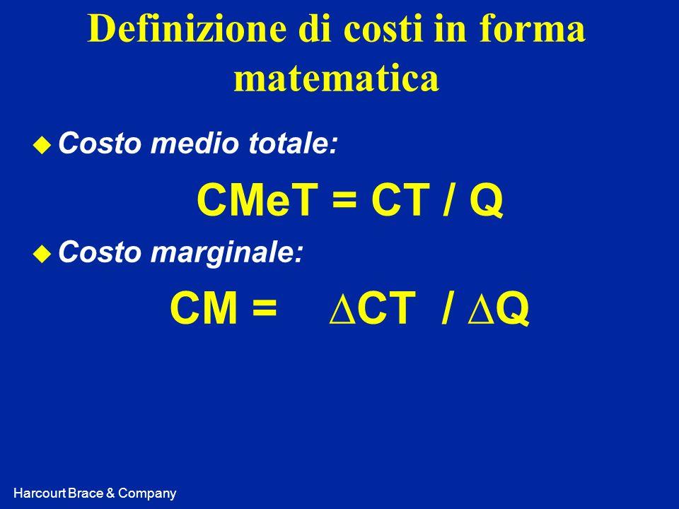 Harcourt Brace & Company Definizione di costi in forma matematica u Costo medio totale: CMeT = CT / Q u Costo marginale: CM = CT / Q