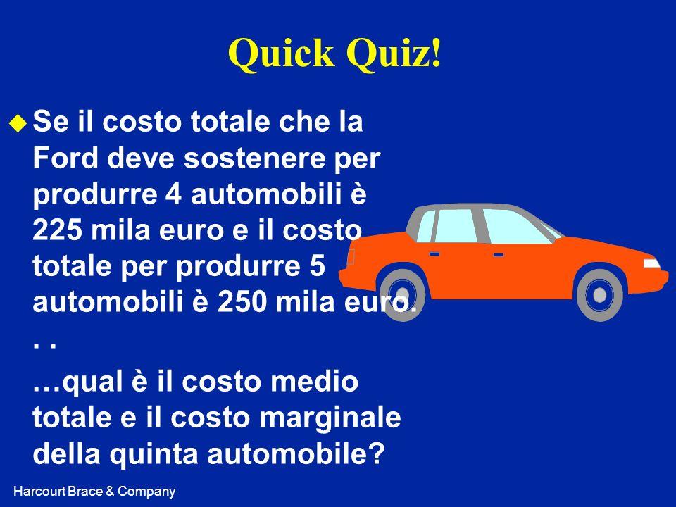 Harcourt Brace & Company Quick Quiz! u Se il costo totale che la Ford deve sostenere per produrre 4 automobili è 225 mila euro e il costo totale per p