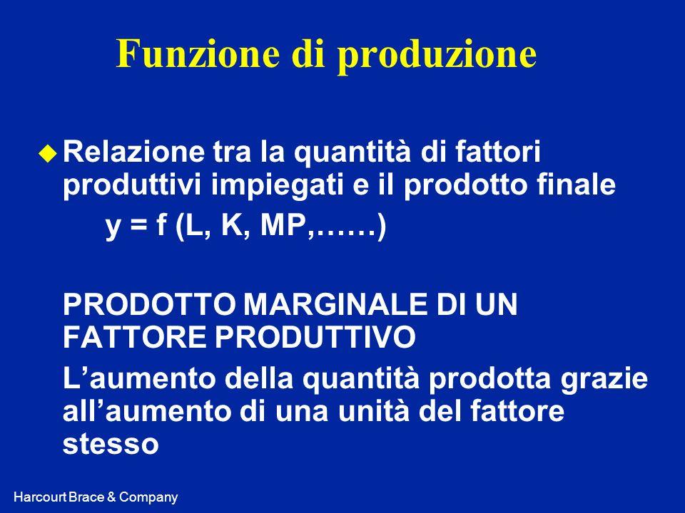 Harcourt Brace & Company Funzione di produzione u Relazione tra la quantità di fattori produttivi impiegati e il prodotto finale y = f (L, K, MP,……) P