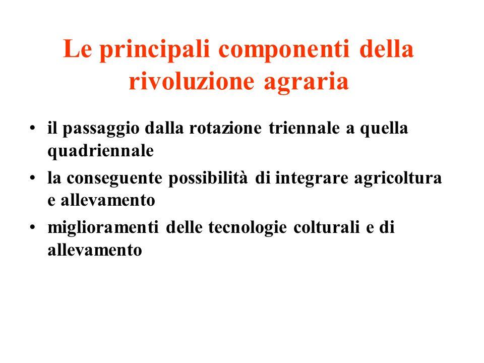 Le principali componenti della rivoluzione agraria il passaggio dalla rotazione triennale a quella quadriennale la conseguente possibilità di integrare agricoltura e allevamento miglioramenti delle tecnologie colturali e di allevamento