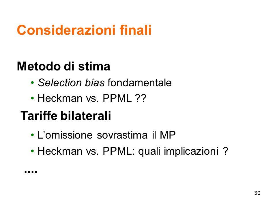 30 Considerazioni finali Metodo di stima Selection bias fondamentale Heckman vs.