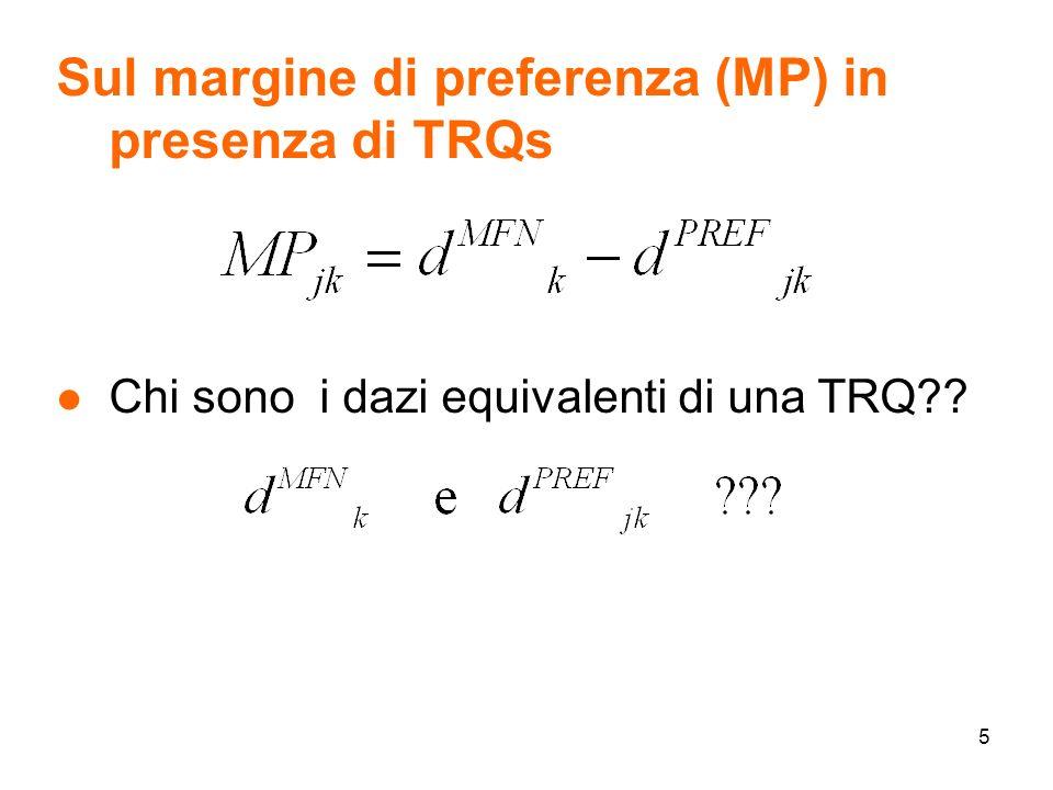 5 Sul margine di preferenza (MP) in presenza di TRQs l Chi sono i dazi equivalenti di una TRQ